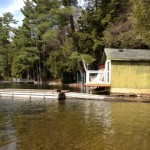 Ample docking. Balcony off boathouse /bunkie features 2 Adirondak chairs.