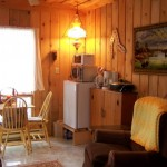 Cabin has kitchenette, couch, TV, DVD & CD player.