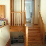 Pine stairs to bedrooms, bath and basement.