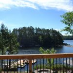 Great view from deck. Why not paddle over to uninhabited island. Cottage provides a canoe and rowboat.