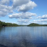 View from the dock of beautiful, clear, Little Kennisis Lake