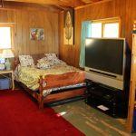 Bunkie has a double and two twins along with a big screen TV/DVD player.