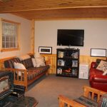Walkout basement with woodstove
