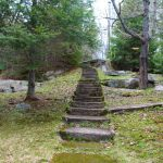 Steps down to the cottage