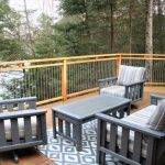 Spacious deck. Surrounded by trees and a vacant lot. Privacy on both sides