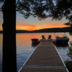 Sunset view of fabulous Kennisis Lake from ample dock